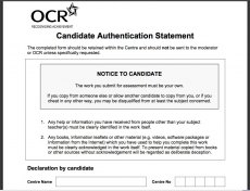 OCR Authentication Statement