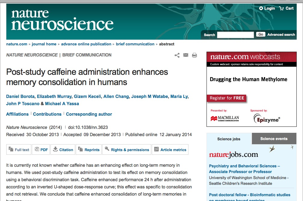 Purpose for investigation of effect of caffeine on memory?